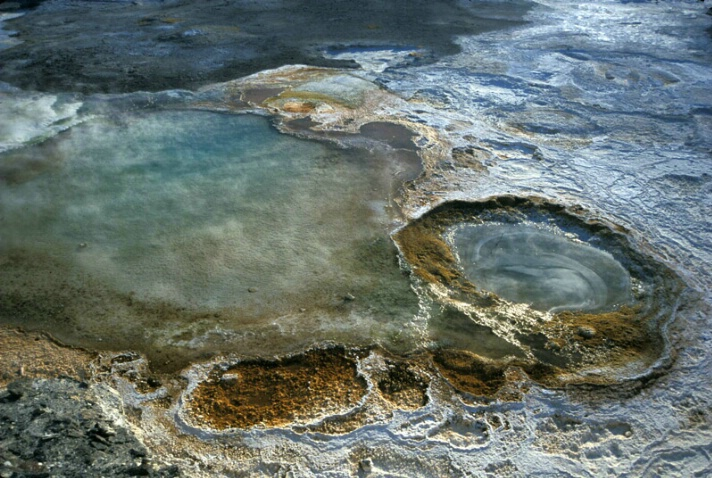 Blue Thermal Formations, Yellowstone National Park