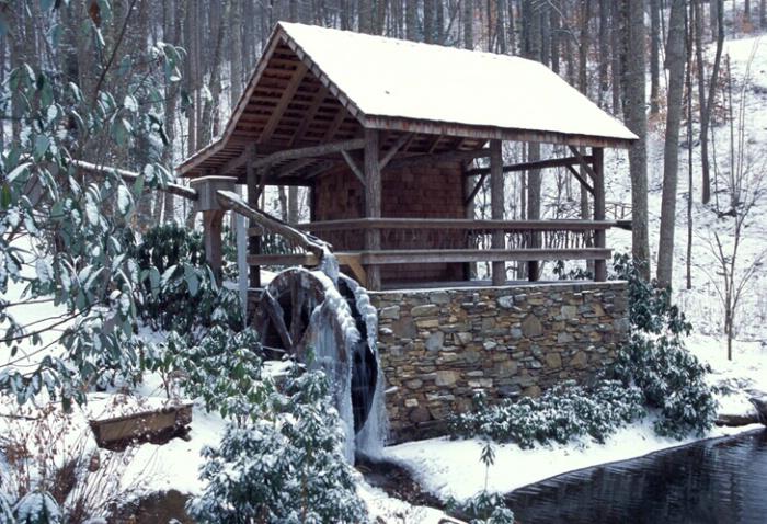 winter water wheel