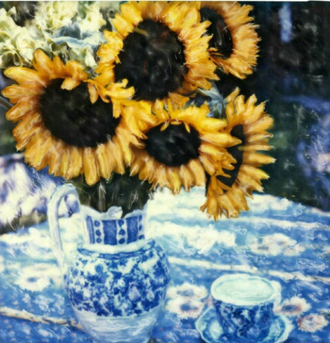 Sunflowers on French Blue
