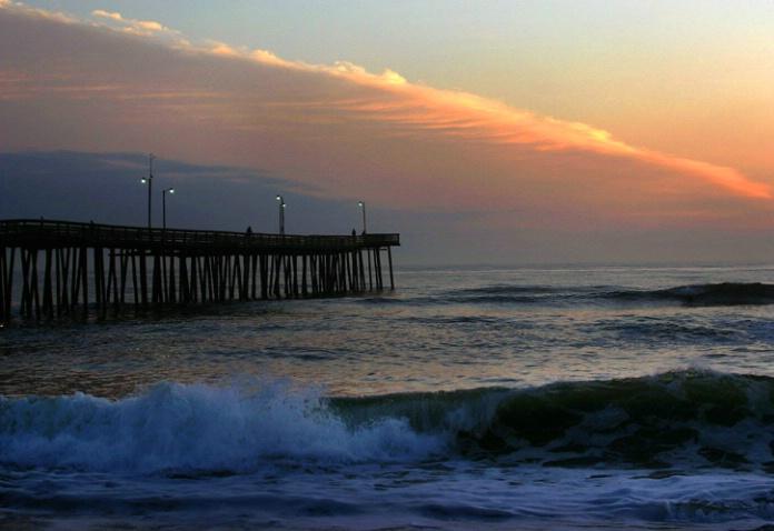 Old pier before sunrise