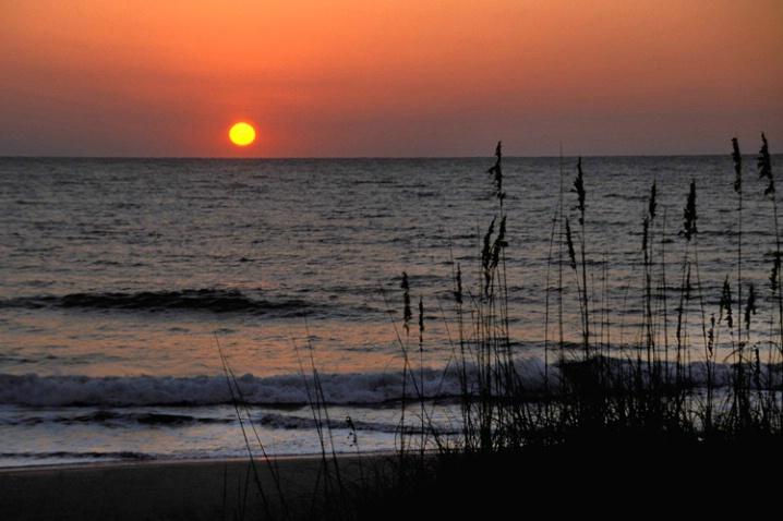Sunrise and sea oats