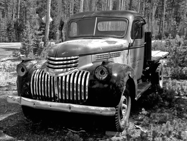 Truck in Oregon - B&W