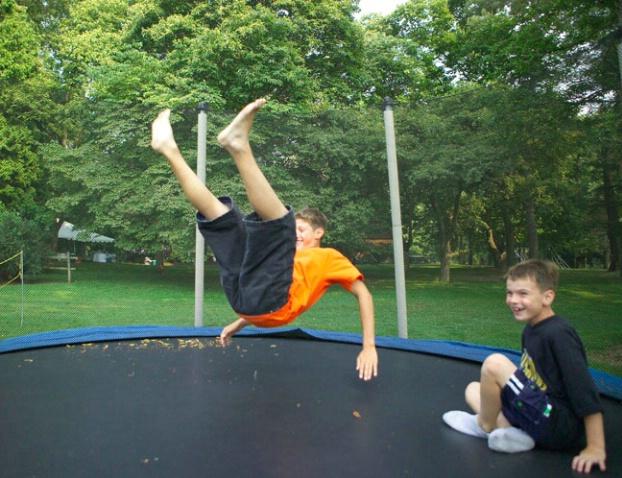 Having fun on the trampoline