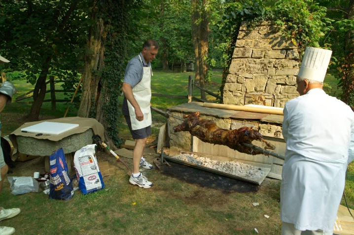 Marc & Alois transferring the lamb to cut