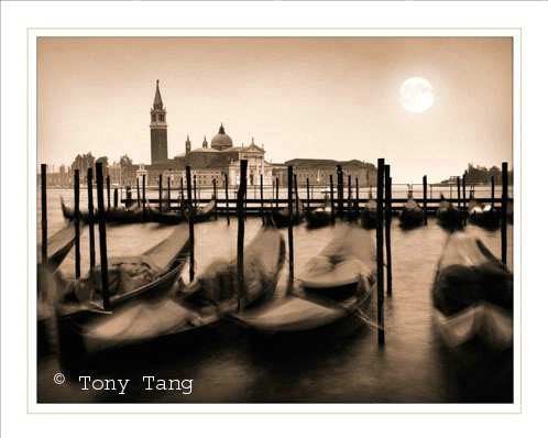 Venice  - Gondolas  in Sepia