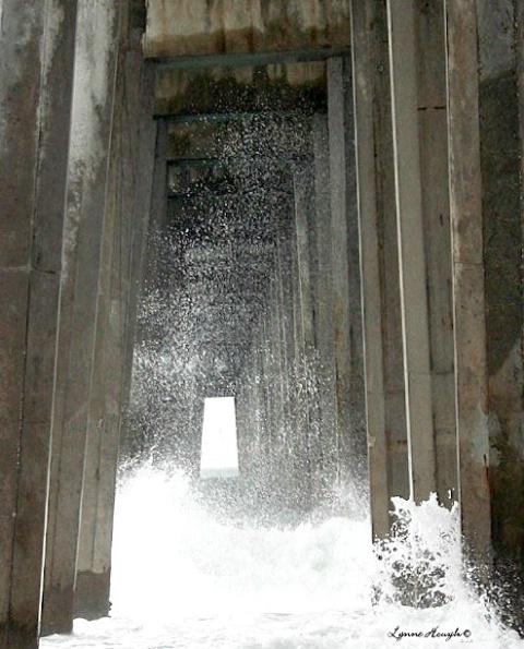 Seaspray under the pier