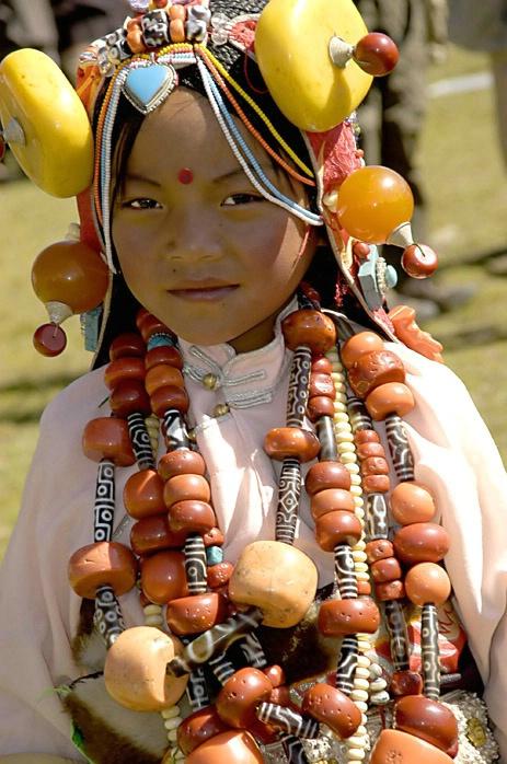Girl with semi precious stones