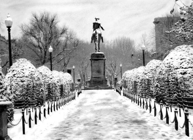 Washington Rides in Snow,Boston Garden