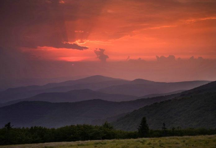 sunrise on Roan Bald
