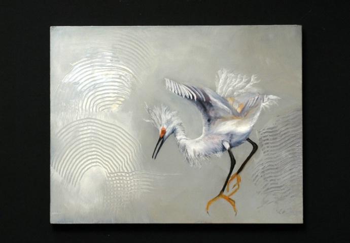 Snowy Egret Dancing on Air