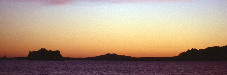 Rangitoto Island taken from Waiheke Channel west