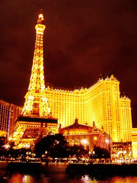Paris Casino at night, Las Vegas, NV