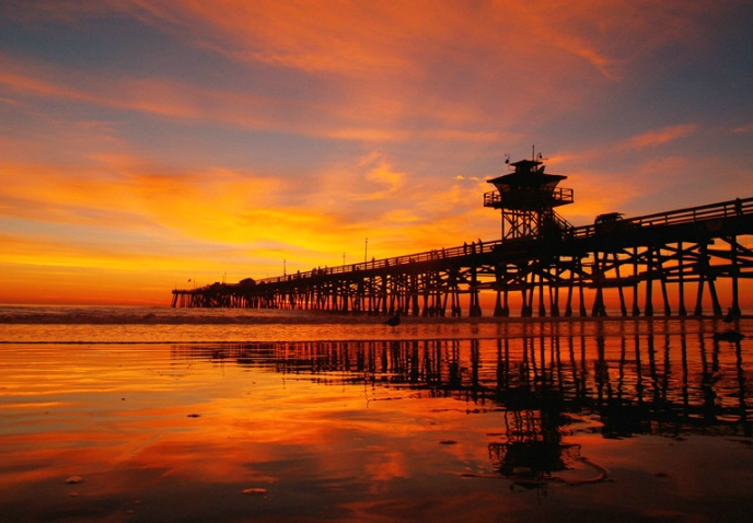 San Clemente Sunset  w/pier reflections