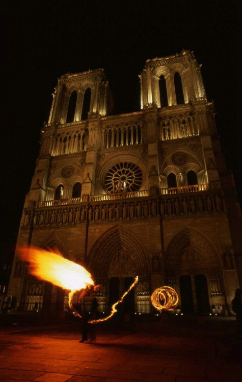 Notre Dame with Fire Performers - Paris