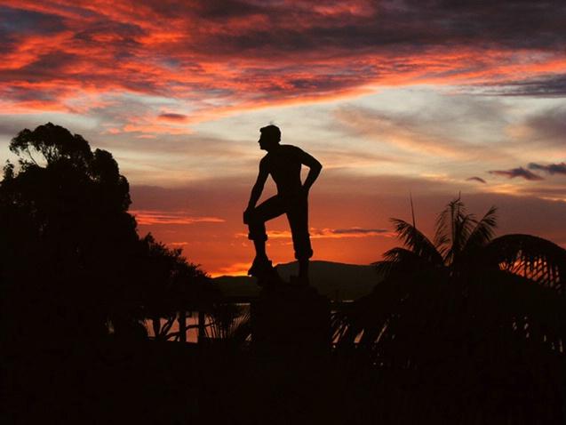 Sir Henry Dana Statue sunrise