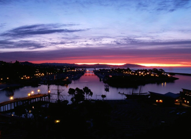Sunrise over DP harbor