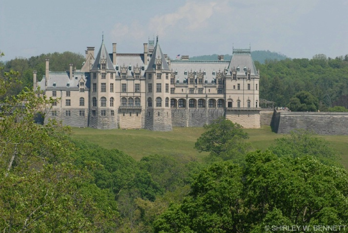 View of Biltmore house from the rear during buggy
