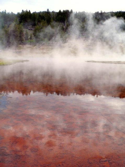 Smoke and reflections, Firehole lake drive, Yellow