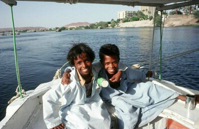 Boys on Felucca, Egypt