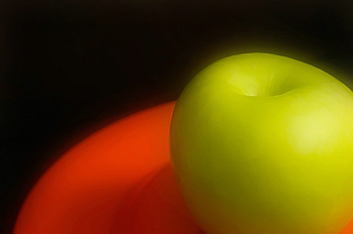 Red Plate with Green Apple