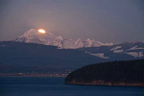 Moonrise Over Mount Baker