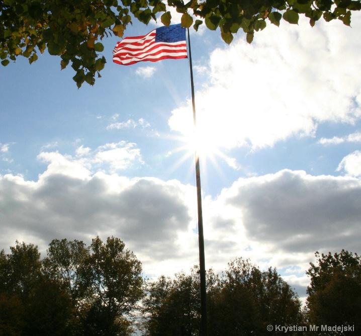 U.S. flag in the sun