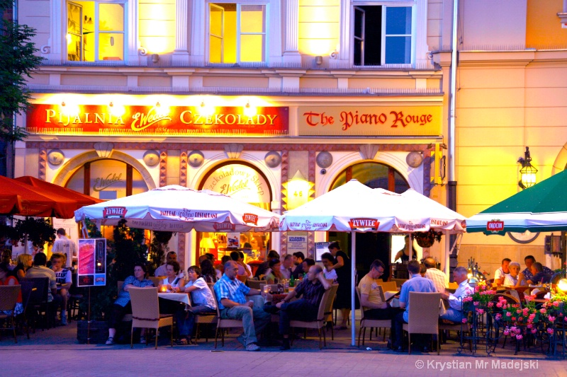 Kraków and cafe's evening lighter version