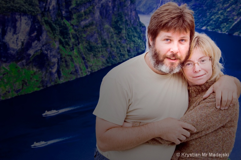 Jola and me Geirangerfjorden light on us