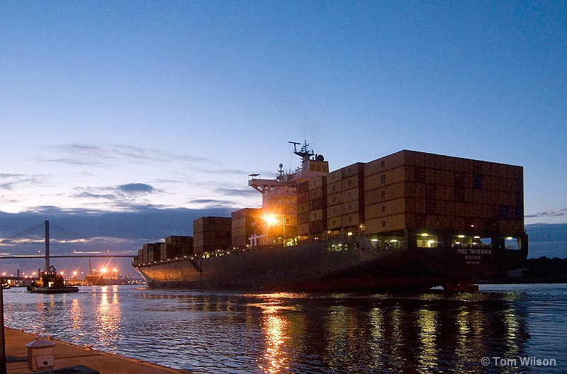 Cargo Ship on the Savannah River