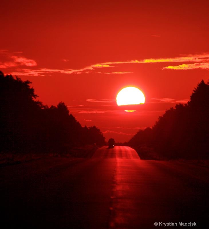 Sunrise on the road - sunlights