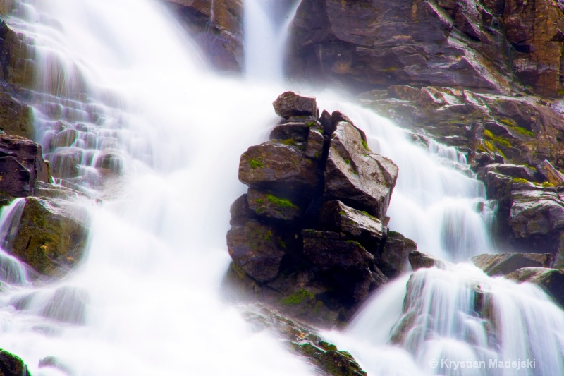Rock in the waterfall - rocks and water