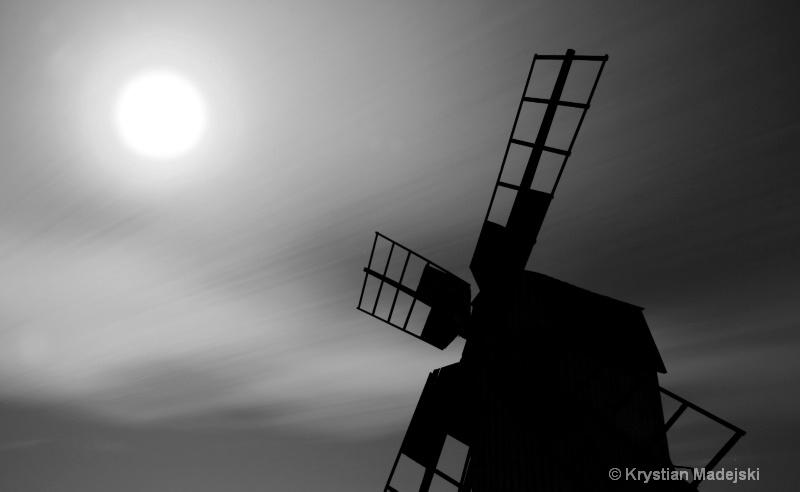 Windmill in full moon