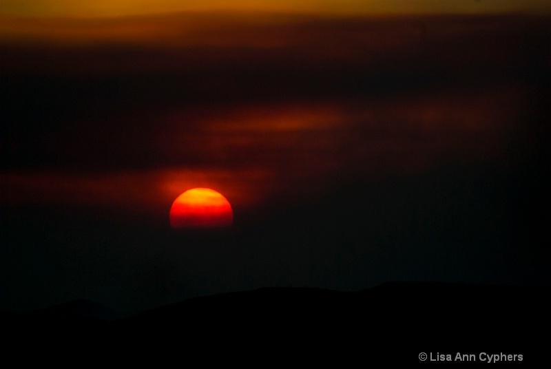Sunset thru the fire