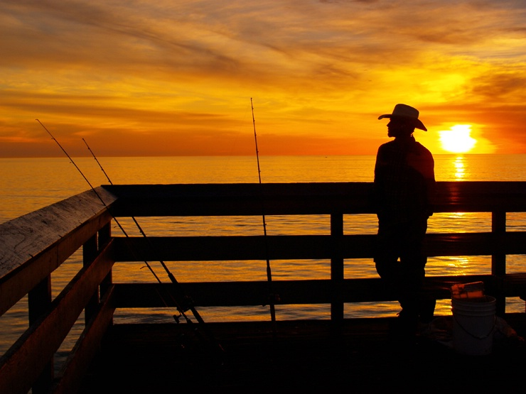 Cowboy Fishing with warm colors