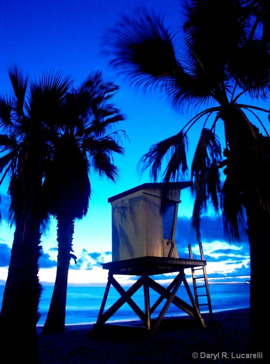 Lifeguard Tower after sunset Capistrano Beach