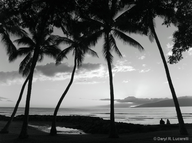 B & W Maui Sunset couple