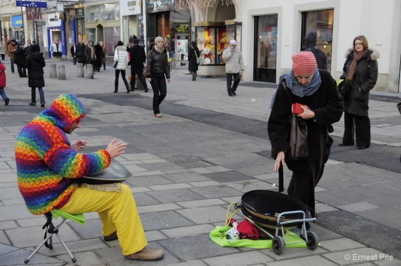 Urban Landscape - Street Musician in Vienna