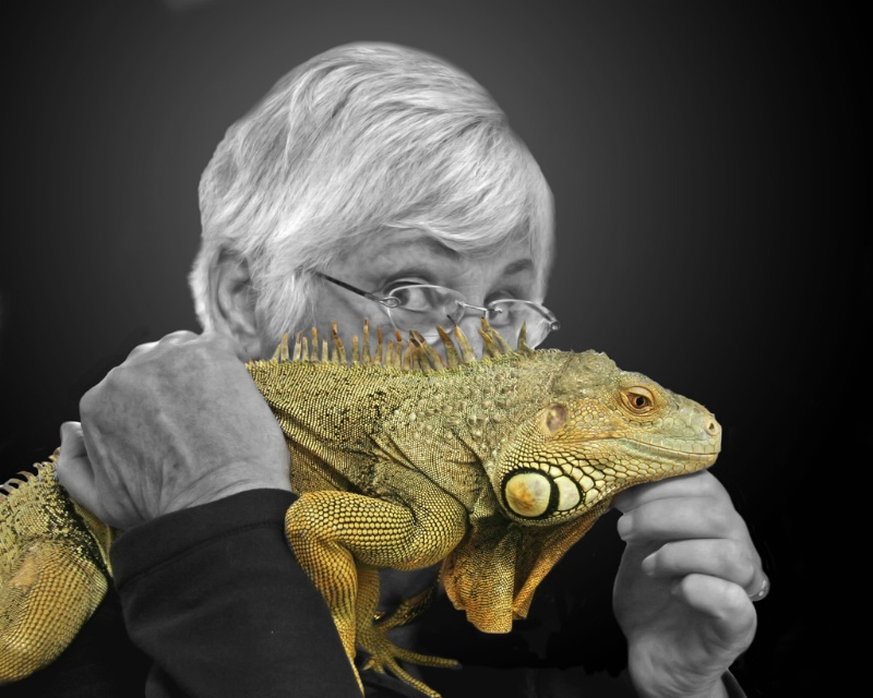 Self-Portrait with Iguana