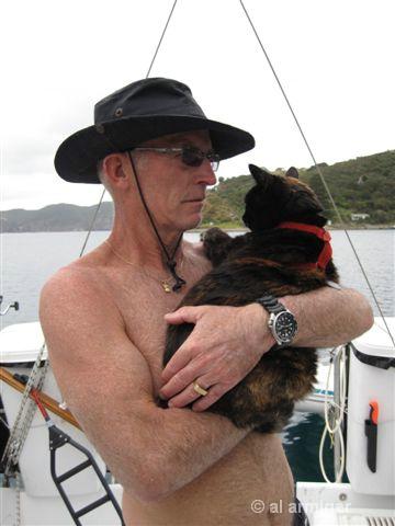 Al & Amber the sailing cat.