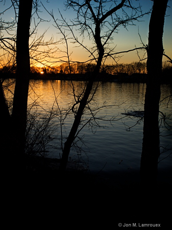 Winter Sunset over the Lake