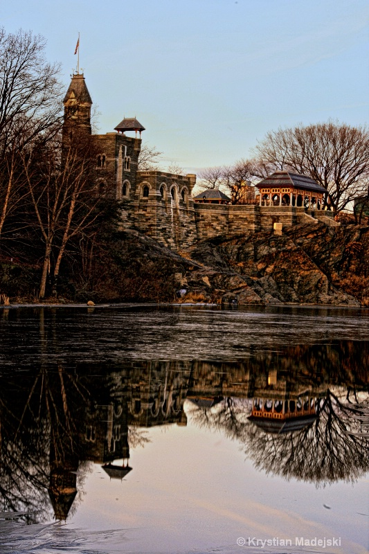 Buildings with reflections in Central Park NYC