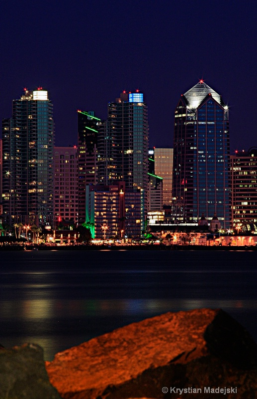 San Diego from harbour at night