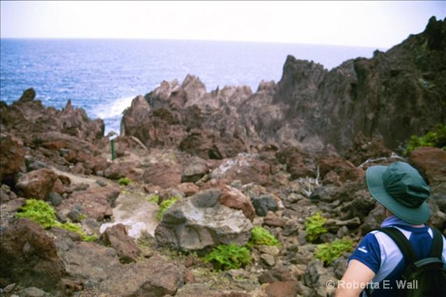 Joan on goat path in Saba