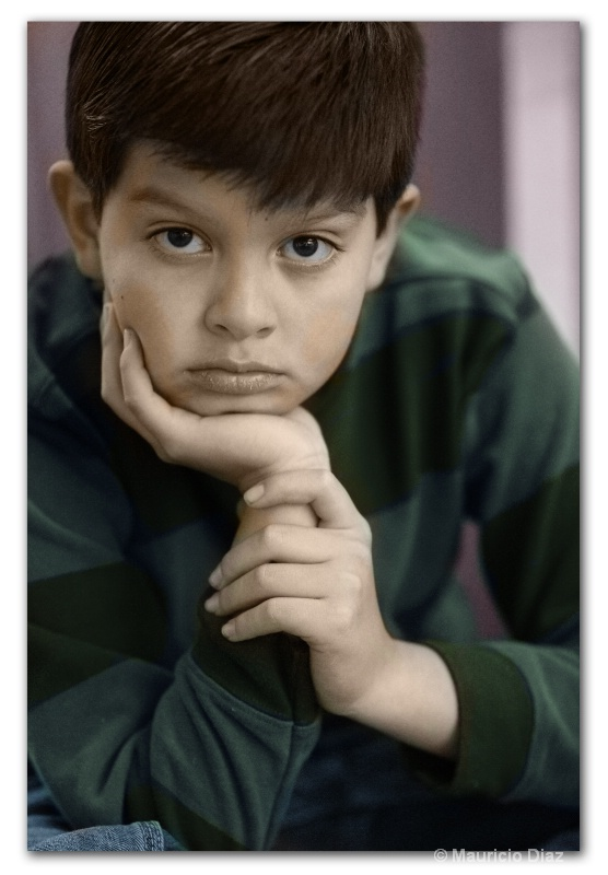 Thinking Boy Digitally Handpainted