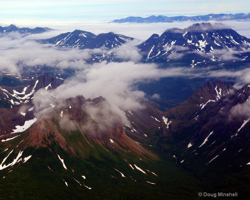Aerial view of Alaskan mountains.