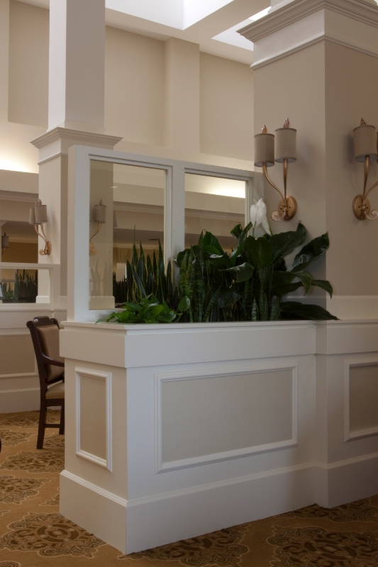 lounge planter glass wall