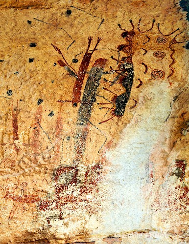 "Pictographs at right end of wall ""Kawi"""