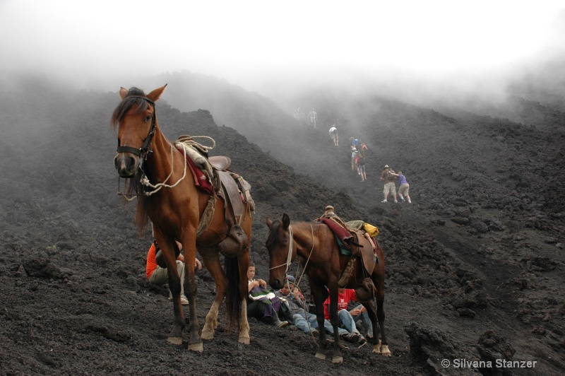Guatemala Foggy volcano climbing