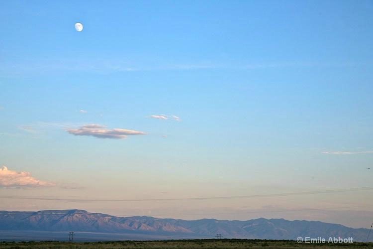 Moon  over Sandia Mnts. scene from RV Park