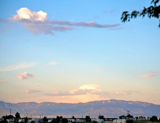 Sandia Mountains scene from RV Park